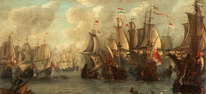 Überfall von Medway. Niederländische Schiffe drangen im Wirtschaftskrieg England – Holland 1667 in die Mündung der Themse ein.