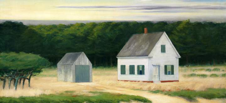 """Auch die Amerikaner haben als Besatzungsmacht die Eigenheim-Liebe der Deutschen gefördert: Hier """"October on Cape Cod"""", Edward Hopper, 1946."""