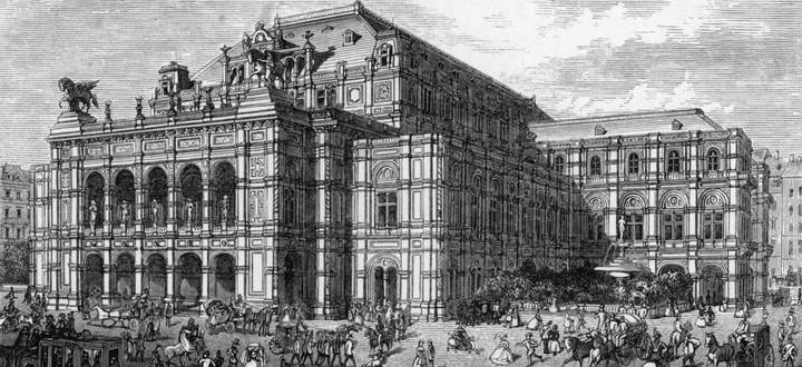 Auf der Wiegefläche der Geschichte: k. k. Hof-Operntheater, Holzstich, um 1869.