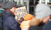 Demonstranten fordern in Wien Anfang Februar die Einführung der 35 Stunden Woche in der Sozialwirschaft.