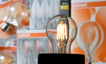 FILE PHOTO: Illustration photo showing a lit bulb by German lighting manufacturer Osram