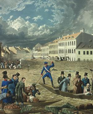 """""""Denkmahl edler hochherziger Gesinnungen und Handlungen"""", so ist diese kolorierte Radierung von Eduard Gurk unterschrieben. Sie zeigt das Hochwasser in Wien im März 1830: Kaiser Franz besichtigt die Schäden, die ein gewaltiger Eisstoß in der Rossau verursacht hat."""