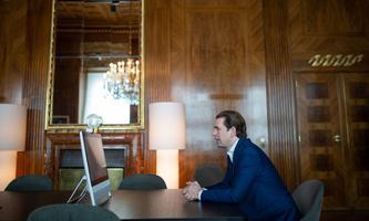 Bundeskanzler Sebastian Kurz beim Videogespräch mit mehreren Medien am Samstag.
