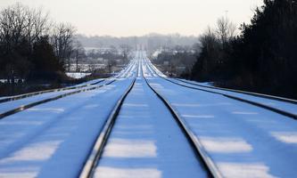 Train tracks lead towards the camp of First Nations members of the Tyendinaga Mohawk Territory
