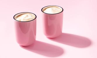 Cappuccino in Pink Cups on Pink Background Toronto, ON, Canada PUBLICATIONxINxGERxSUIxAUTxONLY CR_JEWA210210-637741-01