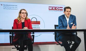 Präsentation von Kaufhaus Österreich: Bundesministerin Margarete Schramböck und WKÖ-Präsident Harald Mahrer.