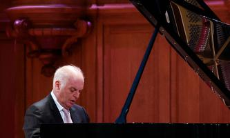 MOSCOW, RUSSIA - MAY 26, 2021: Israeli pianist and conductor Daniel Barenboim, the six-time Grammy winner, gives a solo