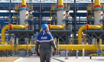 Gasaufbereitungsanlage in der Kompressorstation Slavjanskaja, dem Ausgangspunkt für die umstrittene Ostseepipeline Nord Stream 2.