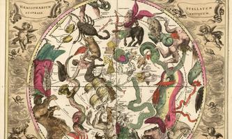 """Der Himmel über der südlichen Hemisphäre, aus dem """"Atlas universalis"""" des Andreas Cellarius von 1708. Unser Bild des Kosmos ist sicher näher an der Wahrheit – aber immer noch fiktiv."""