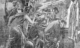 """8. Mai 1925: der Anschlag auf Todor Paniza, wie ihn die """"Illustrierte Kronen Zeitung"""" ins Bild setzte."""