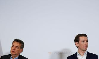 Austrian Chancellor Sebastian Kurz and Vice-Chancellor Werner Kogler address the media during a Government meeting in Krems
