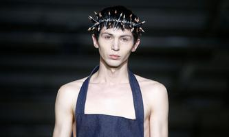 Models present creations during the Per Gotesson catwalk show at London Fashion Week Mens Spring/Summer 2020 in London