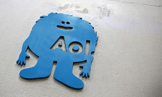 The AOL logo is seen at the company´s office in New York