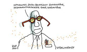 """Impfgegner sagen bevorzugt """"Gwarantäne"""", Permanentmaskierte eher Karantäne."""