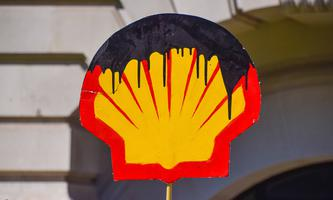 May 31, 2021, London, United Kingdom: Oil-stained Shell logo seen outside the Science Museum in London during Extinctio