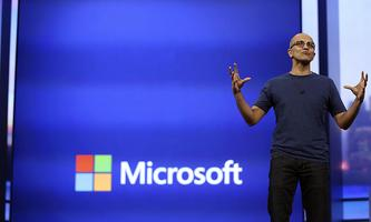 Microsoft CEO Satya Nadella gestures as he speaks during his keynote address at the company´s ´build´ conference in San Francisco