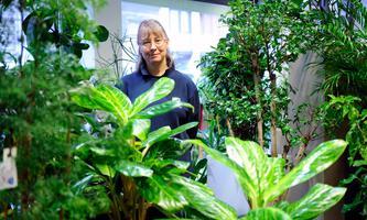 Petra Köck zwischen ihren Pflanzen im siebten Bezirk. Eine andere Farbe als Grün ist in ihrem Schauraum kaum zu finden.