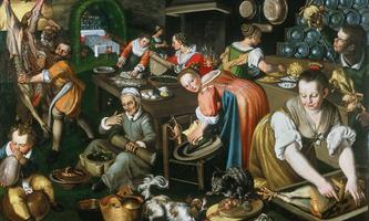 Italienische Küche um 1590. Gemalt von Vincenzo Campi, ausgestellt in der Pinacoteca di Brera in Mailand.