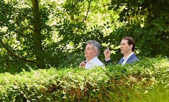 Austrian Chancellor Kurz and Vice Chancellor Kogler at Government meeting