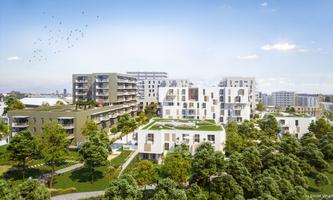 """In den Schwesternprojekten """"Poldine und Selma am Park"""" in Wien Floridsdorf werden Vorsorgewohnungen vermarktet."""