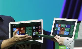 Microsoft Windows President Sinofsky with Vice President Angiulo introduce laptops in development that will run its touch-enabled Windows 8 at the Build conference in Anaheim