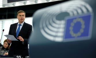 FILE PHOTO: European Commission Vice-President Valdis Dombrovskis presents the EU's Sustainable Investment Plan before the European Parliament in Strasbourg
