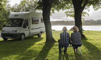 camper van, motor caravan, motor home, RV, recreational vehicle; pond of Priziac Priziac (Brittany, north-western France