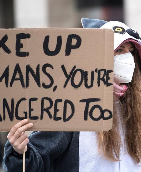 Menschen, ihr seid auch gefährdet: Teilnehmerin der Fridays-For-Future-Proteste in Wien.