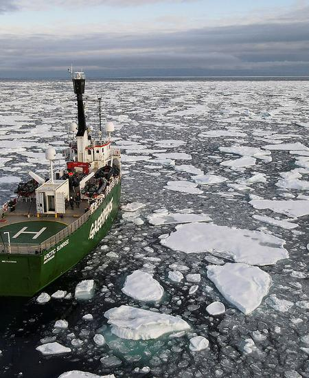 FILE PHOTO: Greenpeace's Arctic Sunrise ship navigates through floating ice in the Arctic Ocean