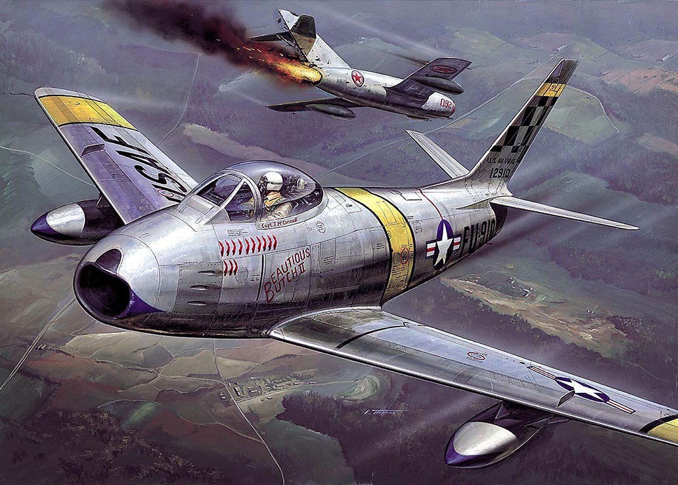 """So lang her: Illustration einer F-86 """"Sabre"""" im Luftkampf über Korea gegen MiG-15 (Koreakrieg, 1950-1953)"""