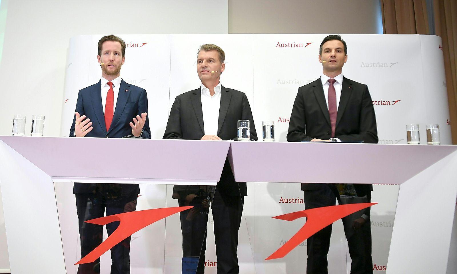 AUA-Chef Alexis von Hoensbroech, CCO Andreas Otto und CFO Wolfgang Jani am Donnerstag.