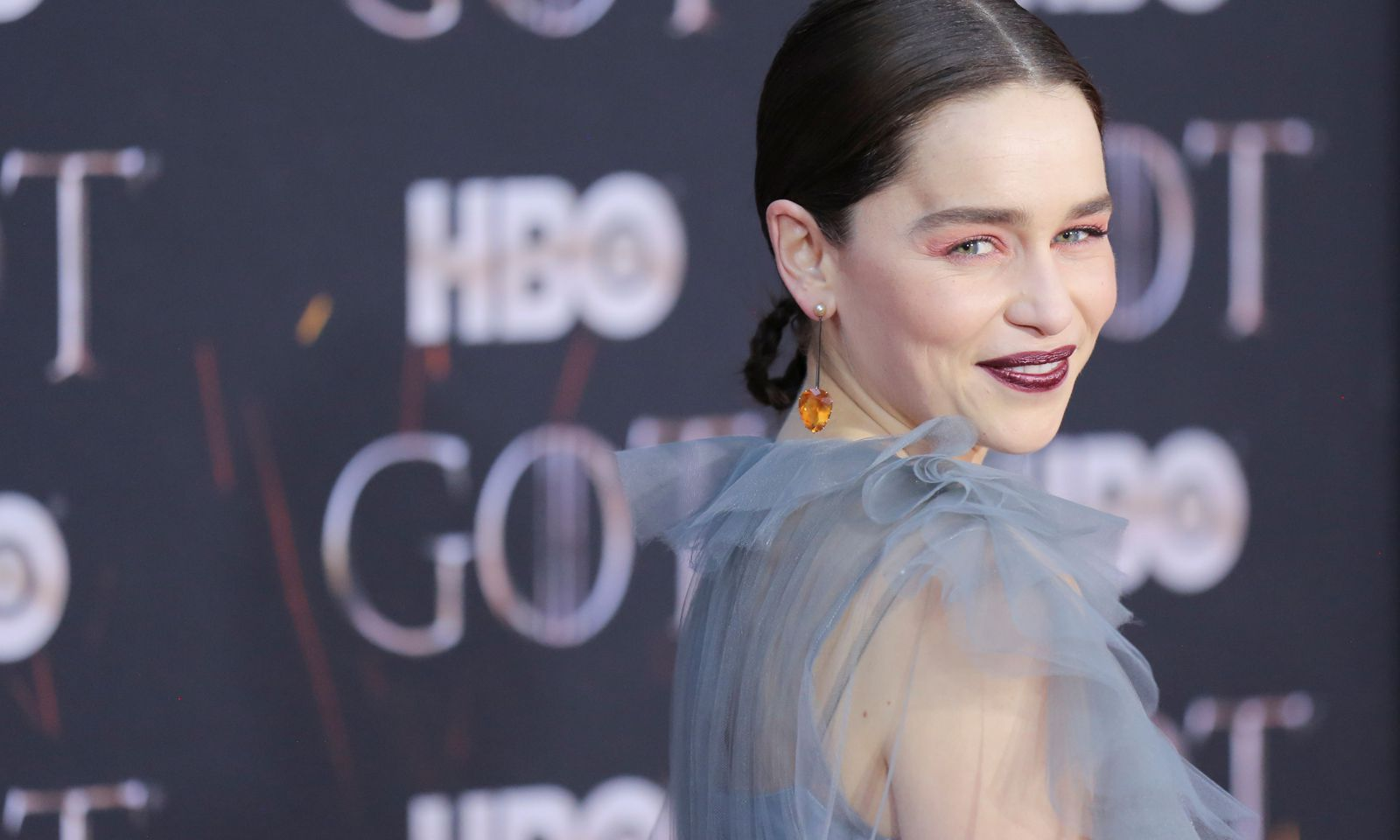 Emilia Clarke poses at the premiere of the final season of ´Game of Thrones´ at Radio City Music Hall in New York