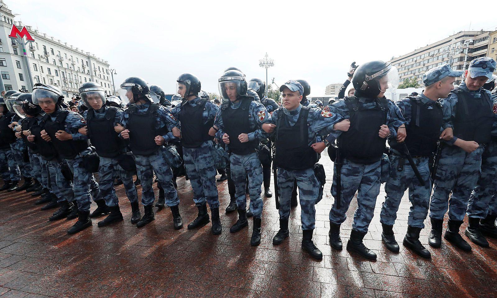 Großes Polizeiaufgebot in der russischen Hauptstadt.