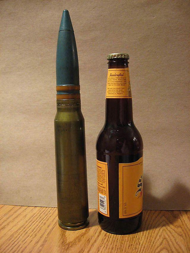 30-mm-Geschoss im Größenvergleich