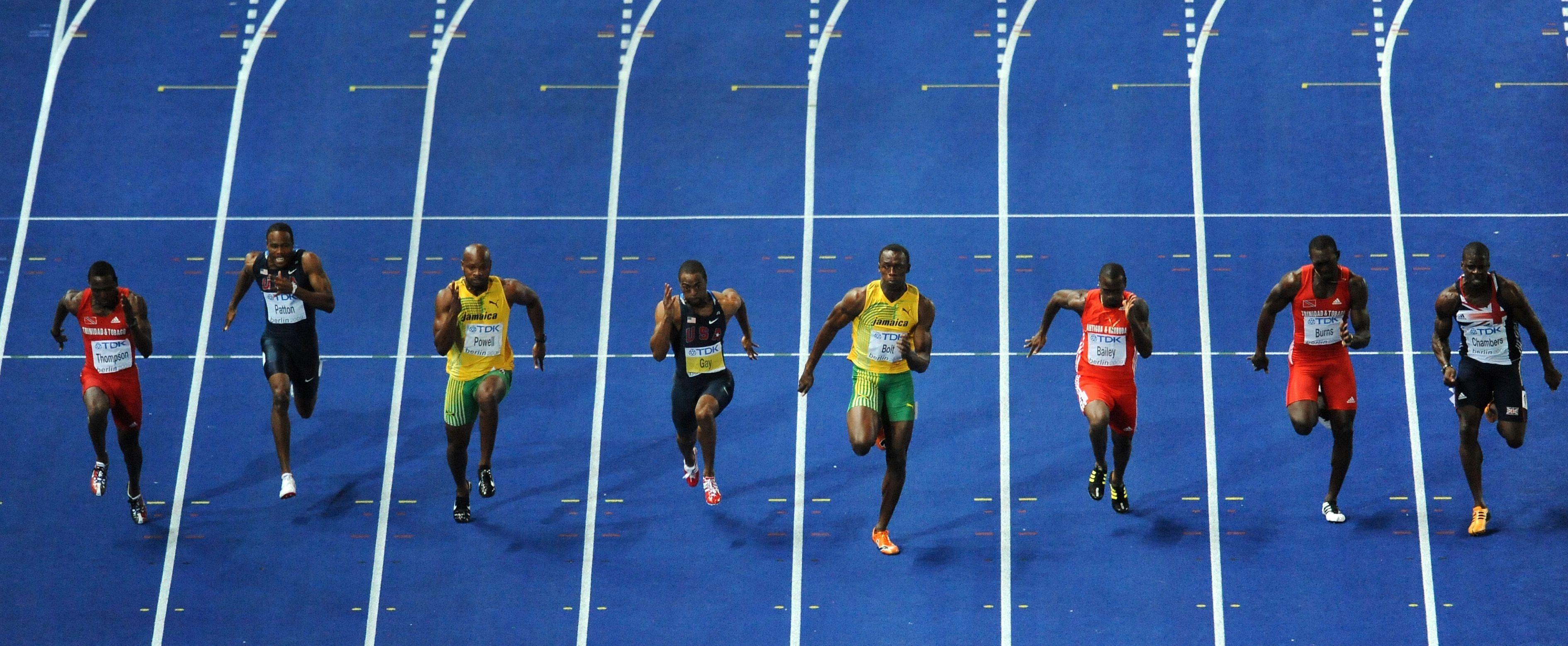 Das 100-Meter-Finale 2009 in Berlin. Usain Bolt, vierter von rechts, siegt mit Fabelzeit.