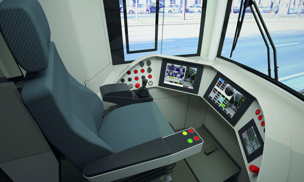 Visualisierung: Innenansicht der Fahrerkabine.