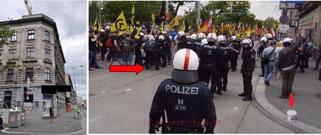 Bild links: Das Haus in der Goldschlagstraße. Auf dem Polizeibild rechts ist der Hilfseinsatz für den 17-Jährigen und ein ebenfalls vom Dach geworfener Kübel markiert.