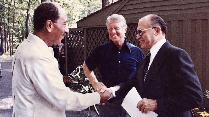 Sadat, Carter und Begin in Camp David, 1978