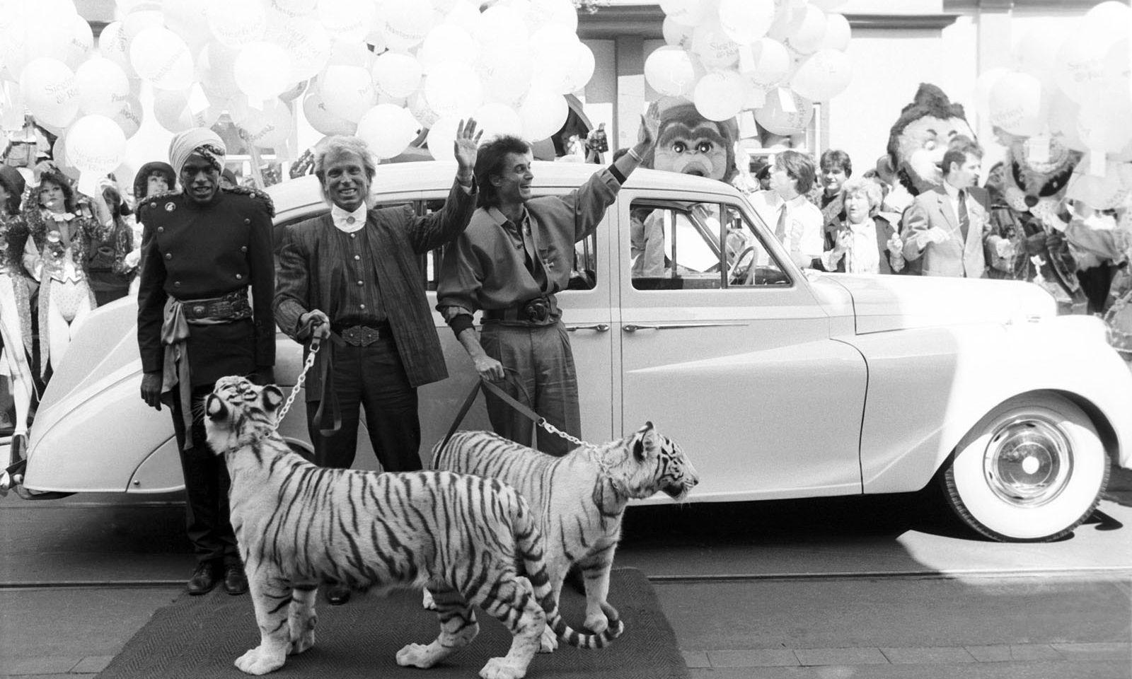Siegfried Fischbacher und Roy Horn mit zwei ihrer Tiger beim Besuch im Phantasialand 1987.