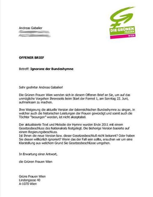 Offener Brief der Grünen Frauen Wien