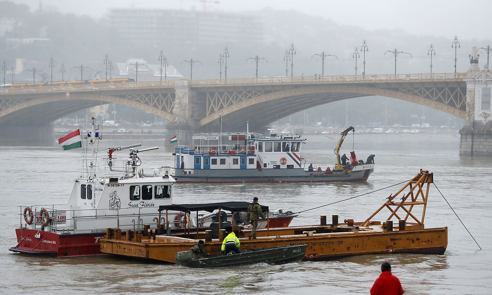 Ship accident on the Danube river in Budapest