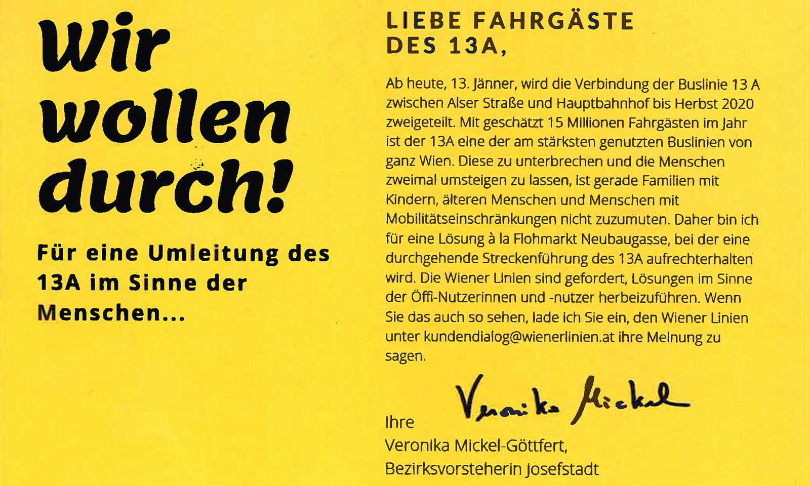 Protest-Flyer der türkisen Josefstadt-Bezirksvorsteherin Veronika Mickel-Göttfert.