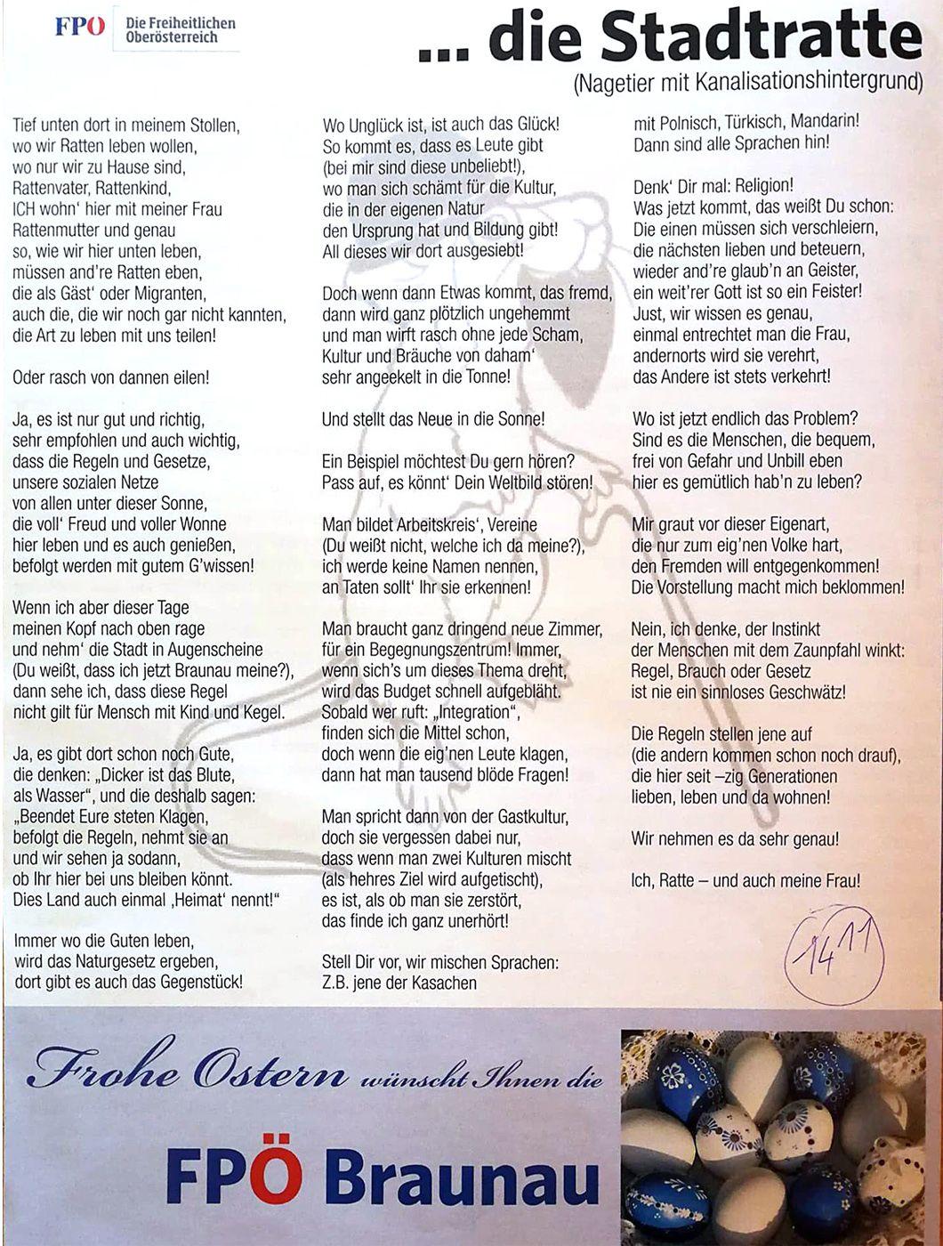 Ratten Gedicht Der Fpö Braunau Schlägt Hohe Wellen