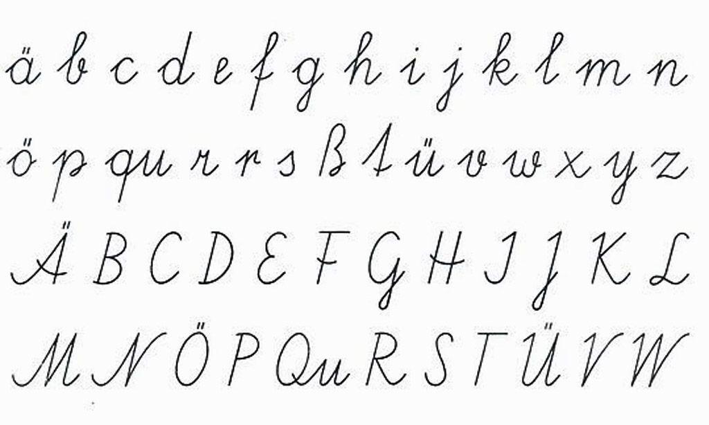 Abc in schreibschrift