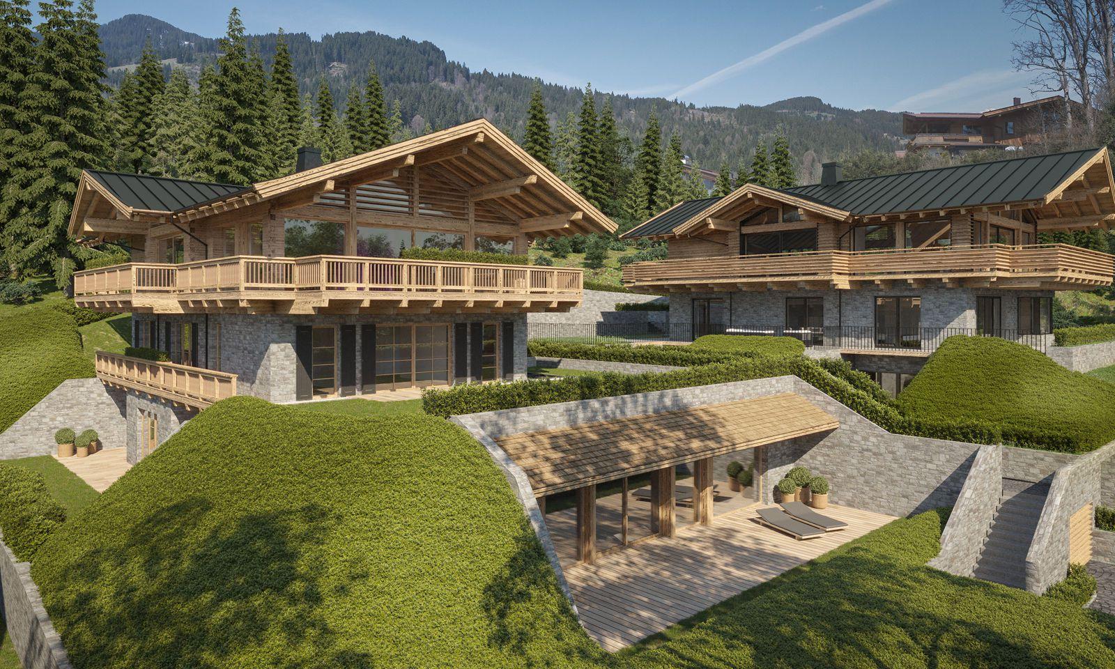 Visualisierung eines Bauvorhabens am Seiwaldbichl bei Kitzbühel.