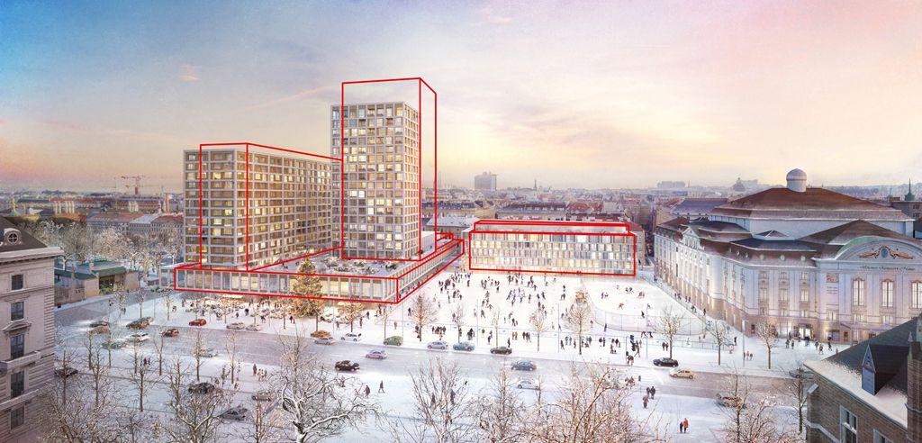 Entwurf für das neue (finale) Projekt. In Rot die Umrisse der zuletzt gestoppten Pläne.