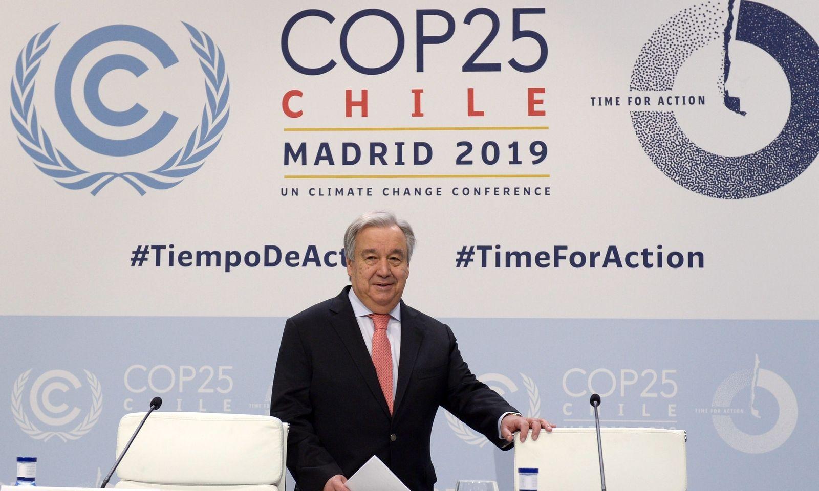 UN-Generalsekretär Antonio Guterres am Sonntag in Madrid