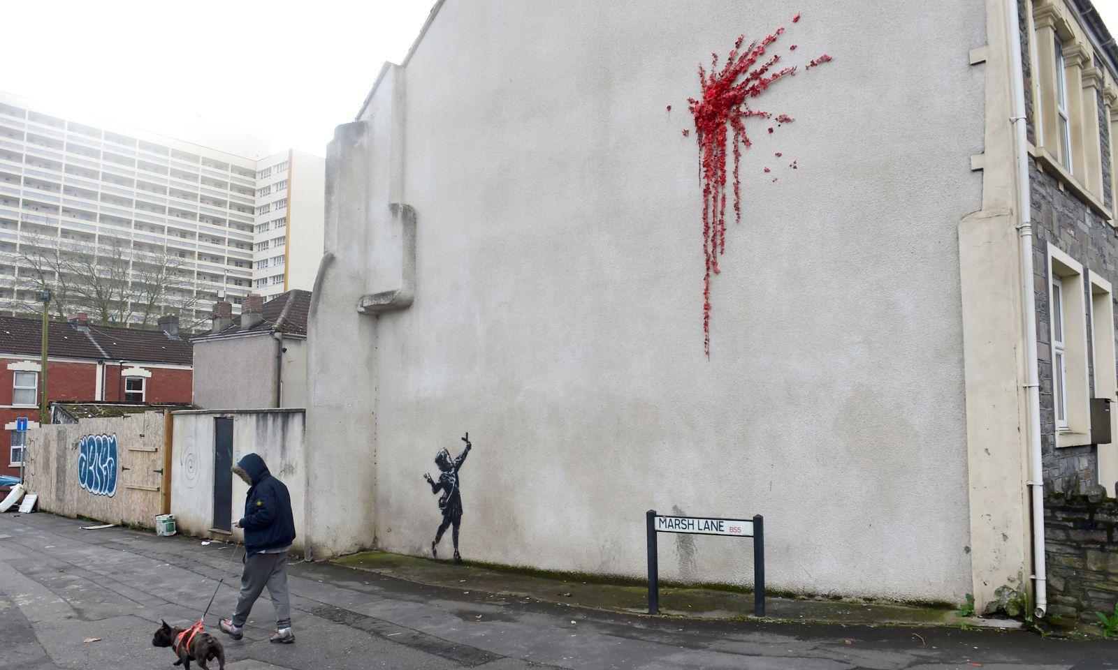 In der Marsh Lane in Bristol ist das neue Kunstwerk aufgetaucht