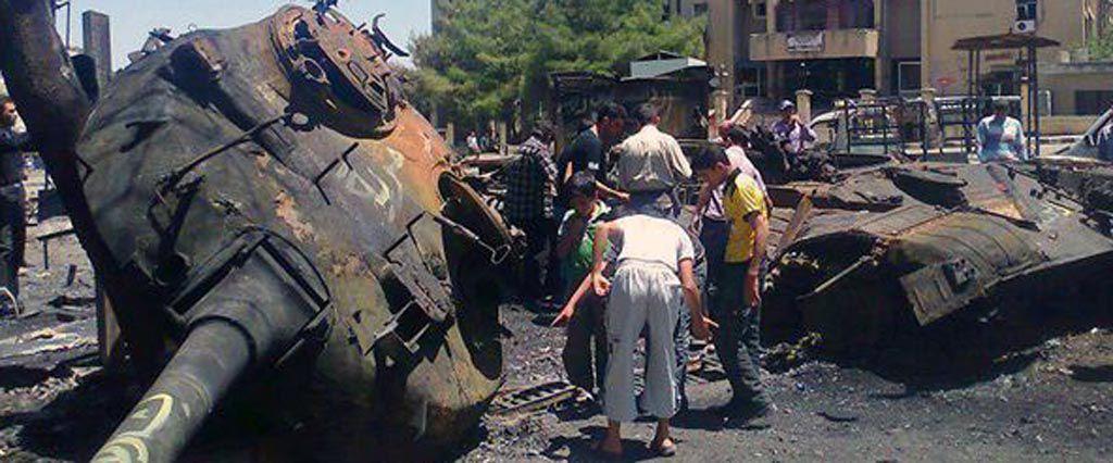 Zerstörter syrischer Kampfpanzer