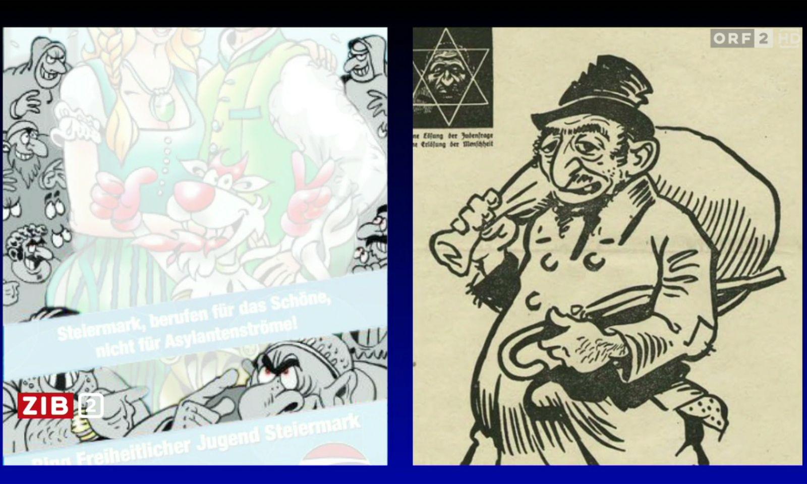 """Konkreter Anlass für Vilimskys Ärger war ein vom ZiB2-Anchor während des Interviews präsentierter Vergleich: Wolf hatte einen Cartoon der steirischen FPÖ-Parteijugend (in welchem eine einheimische Familie in grüner Tracht von finsteren Zuwanderern mit langer Nase, Bart und Buckel bedroht wird) der Darstellung eines Juden aus dem NS-Kampfblatt """"Der Stürmer"""" gegenübergestellt. """"Können Sie mir sagen, was diese Darstellungen unterscheidet"""", fragte Wolf."""